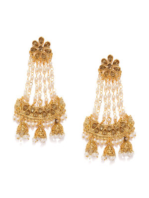 Gold-Toned & White Contemporary Drop Earrings