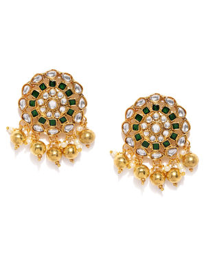 Gold-Toned & Green Contemporary Studs