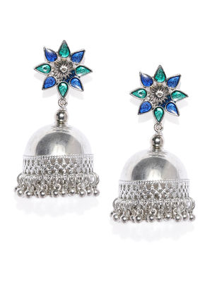 Blue & Silver-Toned Shade of Blue Dome Shaped Jhumkas