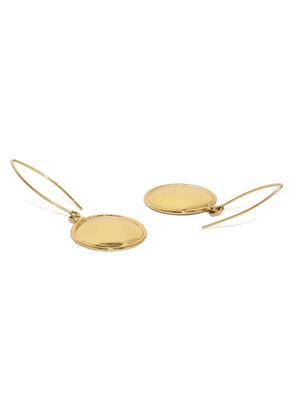 Gold-Toned Circular Shield Drop Earrings