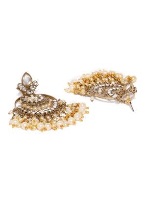 Gold-Toned Circular Fantasy Drop Earrings