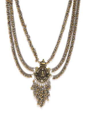 Silver-Toned & Gold-Toned Ganesha Layered Necklace