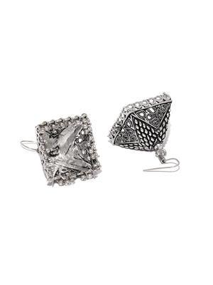 Silver-Toned Triangular Oxidised Jhumkas