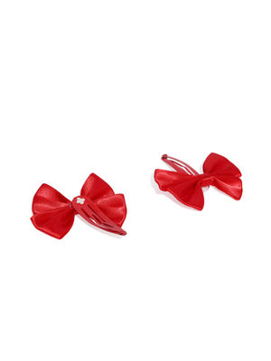 Girls Red Set of 4 Tic Tac Hair Clips