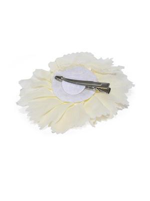 Off-White Embellished Flower Alligator Hair Clip