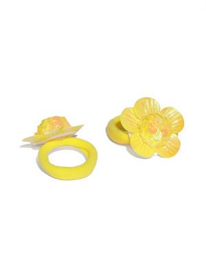 Girls Yellow Set of 2 Embellished Ponytail Holders