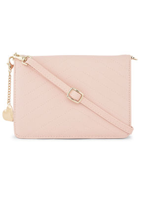 Womens Stylish Quilted Pink Sling Bag