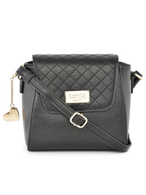 Quilted Front Flap Black Sling Bag
