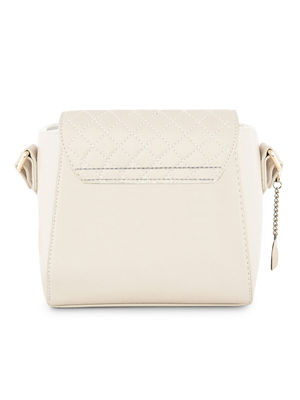 Quilted Beige Front Flap Sling Bag