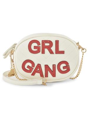 Girl Gang Red Cutwork Sling Bag