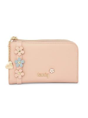 Pink Floral Embellished Wallet For Women