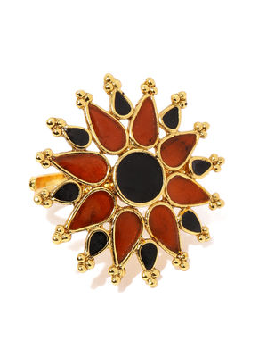 Women Red  Gold-Toned Multi Sun Handcrafted Ring-ONESIZE-Gold