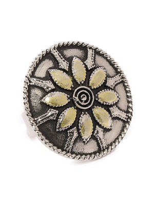 Women Oxidised Silver  Gold-Toned Dualist Floral Shield Handcrafted Ring-ONESIZE-Silver