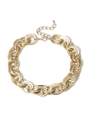 ToniQ Kendall Gold Thick  Linked Chain  Statement Necklace For Women