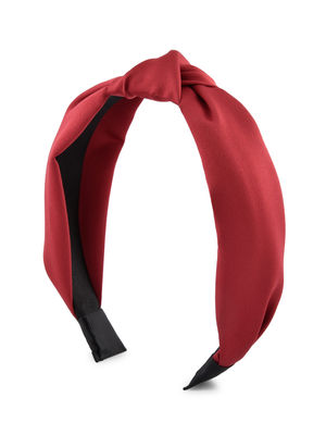 Toniq Elegant Red Satin Top Knot Hair Band For Women