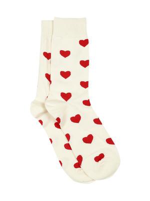 Men Cream-Coloured & Red Patterned Above Ankle Length Socks