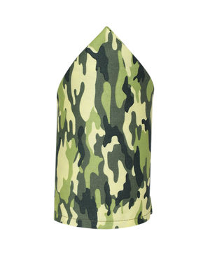 Men Olive Green & Yellow Camouflage Printed Pocket Square