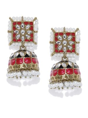 Ethnic Indian Traditional Gold & Red Dome Shaped Jhumkas for women