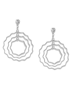 Silver Contemporary Swirl Drop Earrings For Women