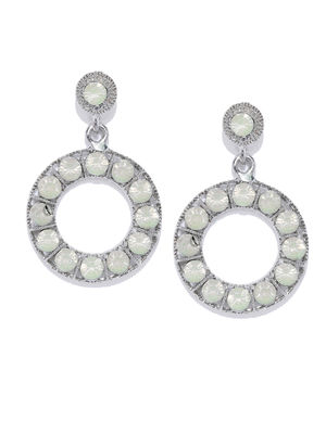 Silver-Toned Circular Drop Earrings For Women