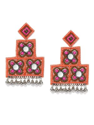 Ethnic Indian Traditional Silver& Orange Drop Earrings for women