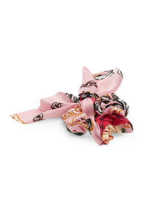 Pink Floral Printed Hair Surunchie For Women