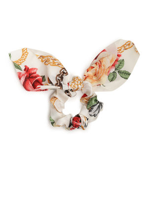 White Floral Printed Hair Surunchie For Women
