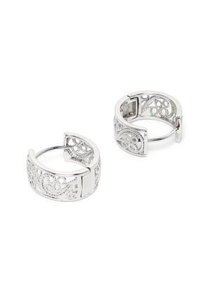 Silver-Toned Rhodium Plated Circular Hoop Earrings