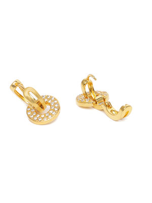 Gold-Toned & White Circular Drop Earrings