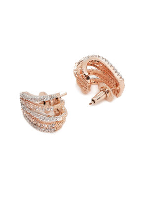 Rose Gold-Toned & White Studded Contemporary Studs