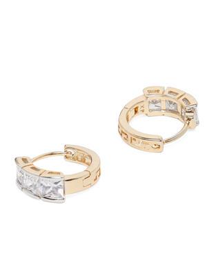 Gold-Toned Rhodium Plated Geometric Hoop Earrings