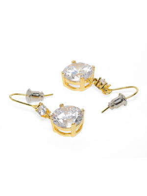 Gold-Toned Studded Geometric Drop Earrings