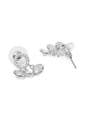 Silver-Toned & White Rhodium Plated Circular Drop Earrings
