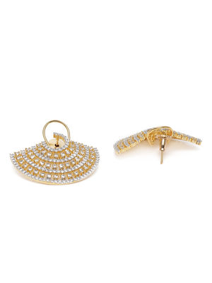 Gold-Toned Contemporary Over Sized Studs