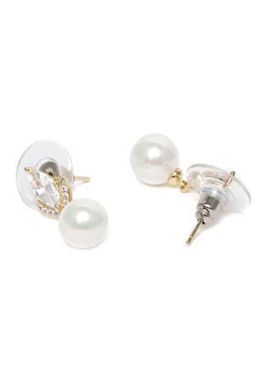Gold-Toned & White Spherical Drop Earrings