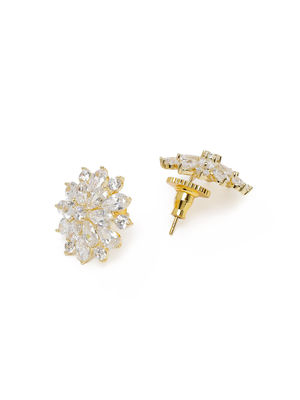 Silver-Toned Rhodium Plated Floral Studs
