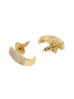 Gold-Toned Contemporary Rhodium Plated Hoop Earrings