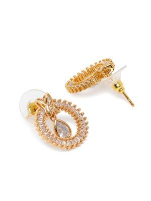 Gold-Toned Antique Circular Drop Earrings