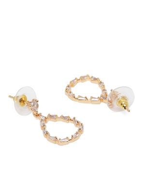 Gold-Toned Diamond Shaped Drop Earrings
