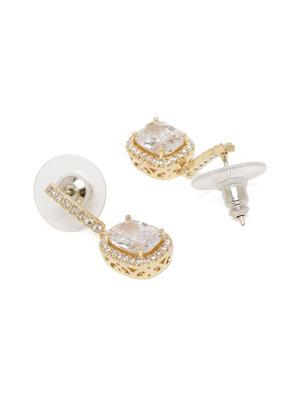 Women Gold-Toned Geometric Drop Earrings