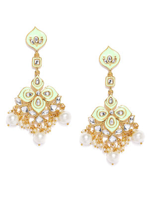 Gold-Toned & Green Mint Clover Classic Drop Earrings