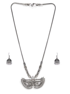 Women Silver-Toned Oxidised Contemporary Necklace & Earring Set