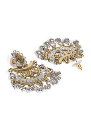 Gold-Toned & Silver-Toned Crescent Shaped Chandbalis
