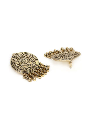 Gold-Toned Antique Oval-Shaped Oversized Studs