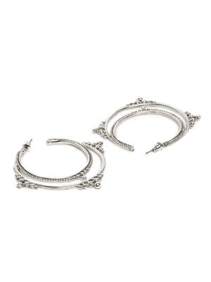Silver-Toned Circular Half Hoop Earrings