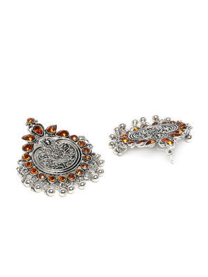 Silver-Toned Oxidised Studded Classic Oversized Studs