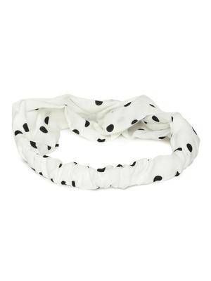 White & Black Polka Dot Crossover Hairband
