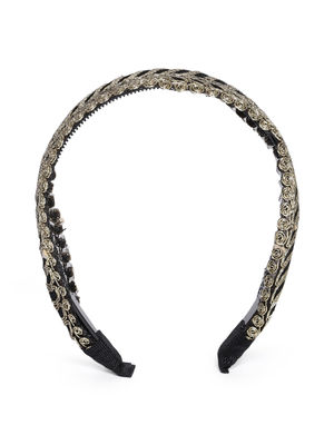 Black & Gold-Toned Embroidered Hairband