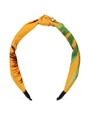 Yellow & Green Printed Top Knot Hairband