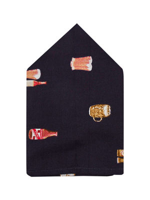 Brocode Classic Mens Black Party Ready Beer Pocket Square